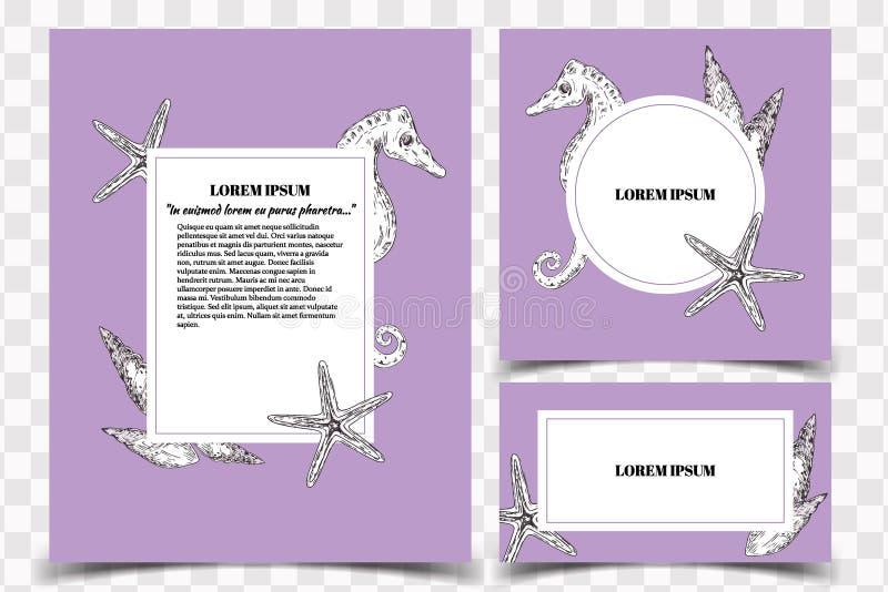 Комплект шаблонов с морской темой - раковин карточки вектора моря бесплатная иллюстрация