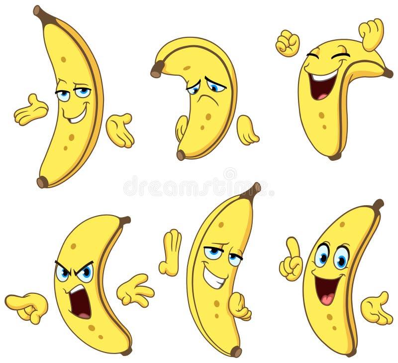Комплект шаржа банана иллюстрация штока