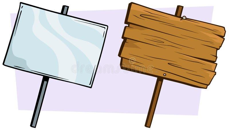 Комплект шаржа деревянный и стекловидный знака иллюстрация вектора