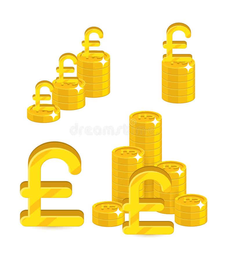 Комплект шаржа золота куч изолированный фунтами иллюстрация вектора
