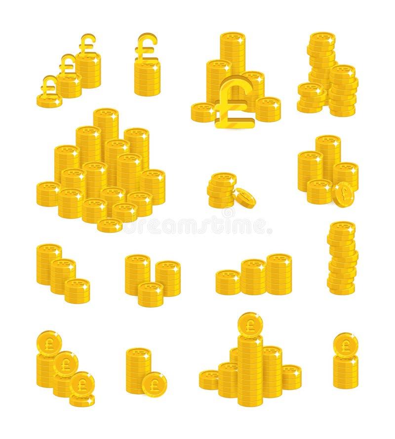 Комплект шаржа золота скольжений изолированный фунтами бесплатная иллюстрация