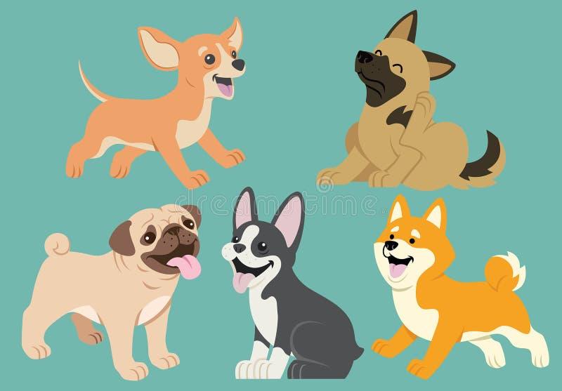 Комплект шаржа собаки плоский иллюстрация штока