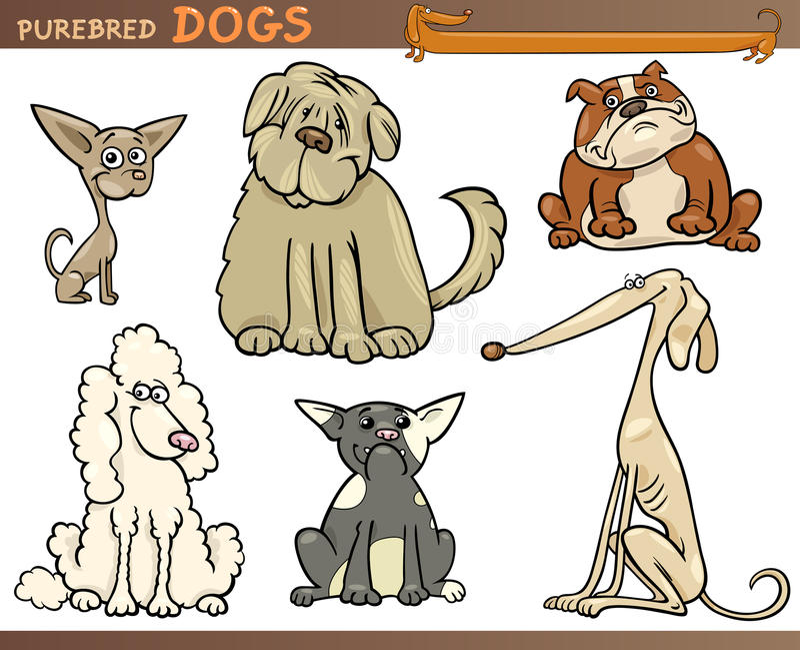 Комплект шаржа собак Purebred иллюстрация штока