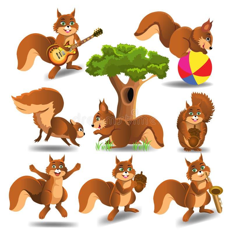 Комплект шаржа squirrels делать различную деятельность изолированного на белой предпосылке иллюстрация вектора