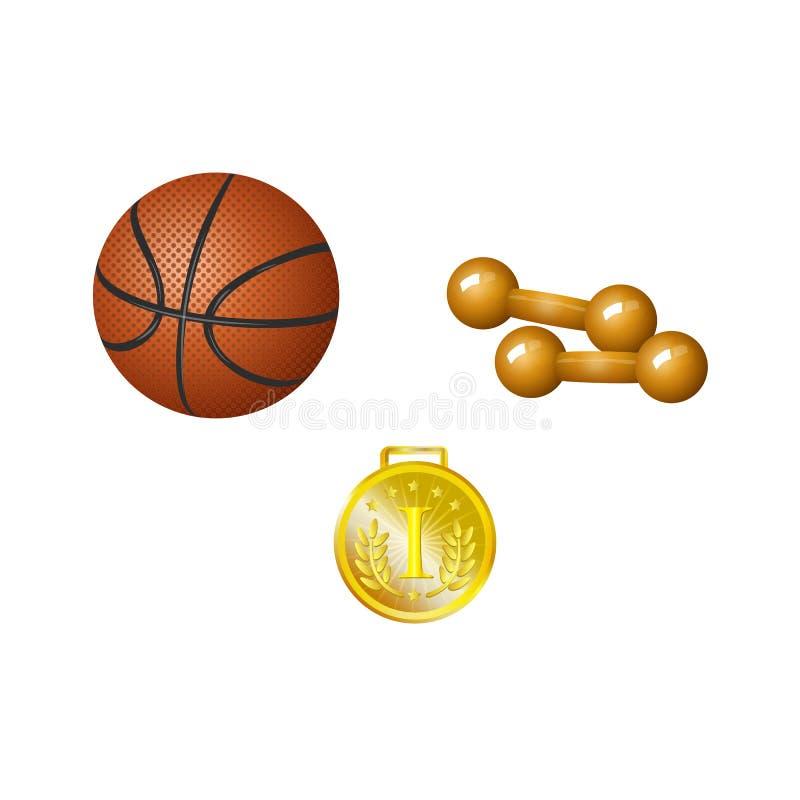 Комплект шарика баскетбола, гантелей и золотого медали иллюстрация вектора