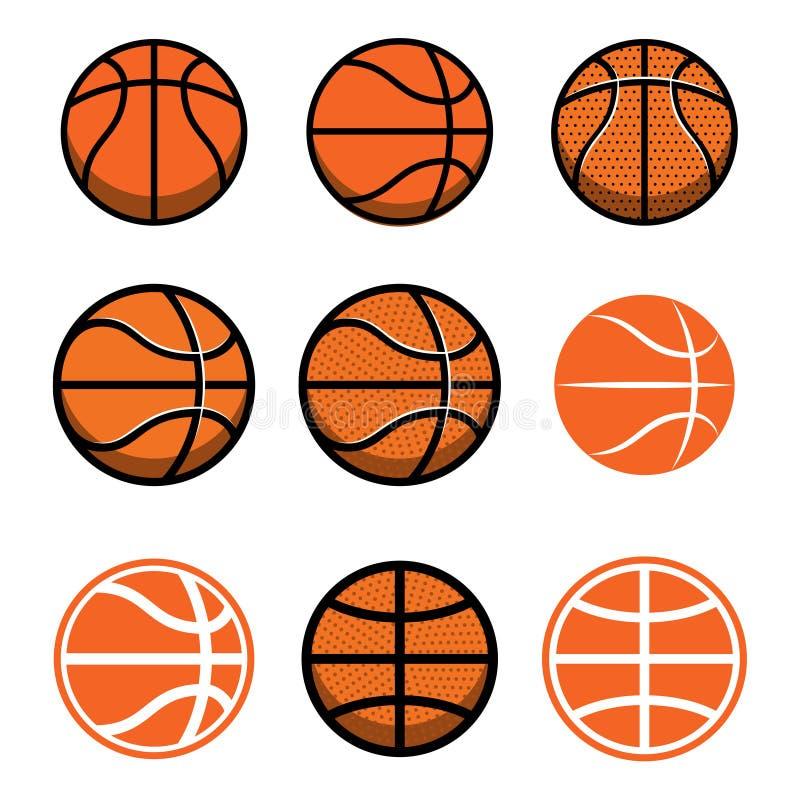Комплект шариков баскетбола изолированных на белой предпосылке Конструируйте элемент для плаката, логотипа, ярлыка, эмблемы, знак бесплатная иллюстрация