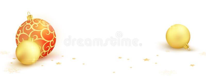 Комплект 3 шариков рождества на белом suface с звездами и snowflak иллюстрация вектора