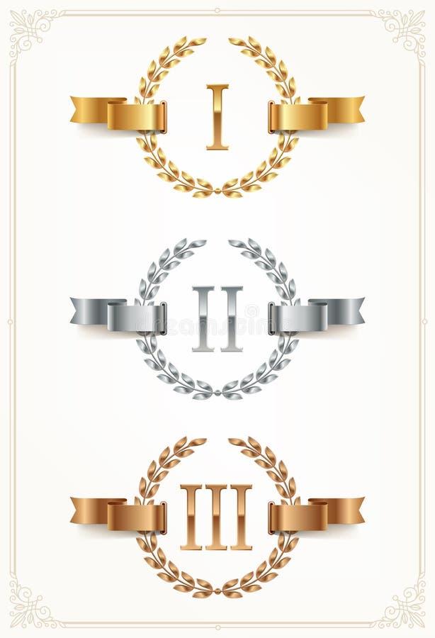 Комплект шереножных эмблем - золото, серебр, бронза Первое место, второе место и третье место подписывают с римскими цифрами иллюстрация штока