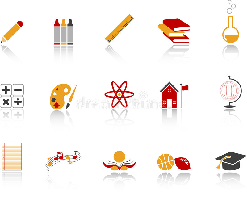 комплект школы иконы красный бесплатная иллюстрация