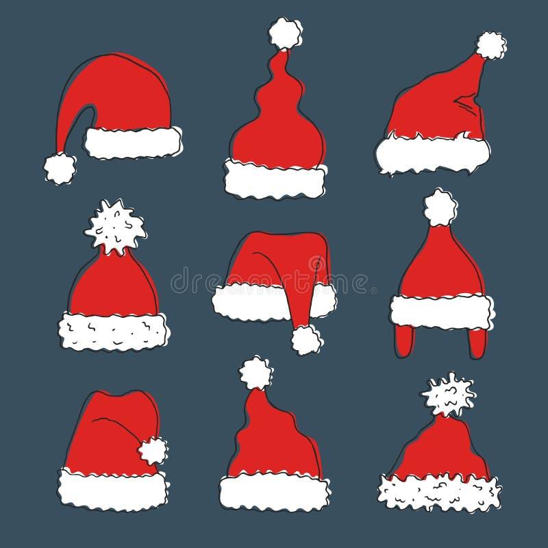 Комплект шляп нарисованных рукой Санта Клауса иллюстрация штока