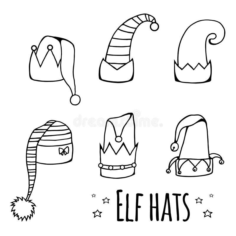 Комплект шляп эльфа шаржа черно-белых иллюстрация вектора