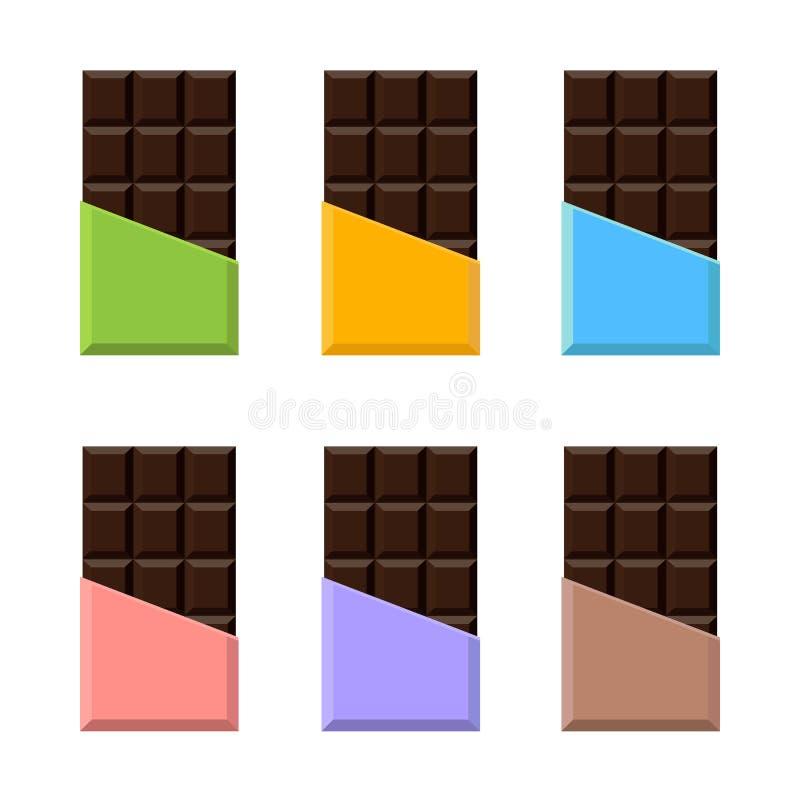 Комплект шоколадного батончика реалистический упаковывать Насмешка вверх иллюстрация штока