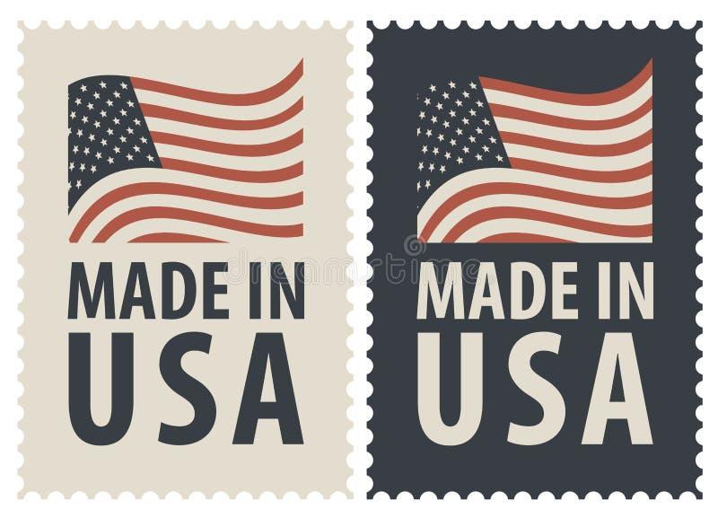 Комплект 2 штемпелей почтового сбора с американским флагом иллюстрация вектора