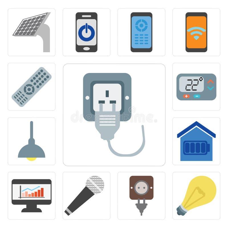 Комплект штепсельной вилки, света, микрофона, приборной панели, умного дома, освещение, иллюстрация штока