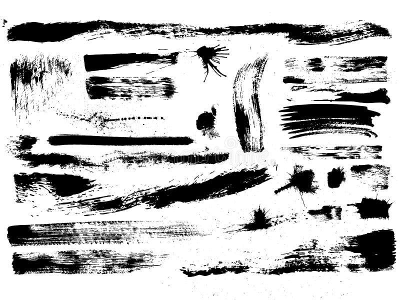 комплект щетки брызгает вектор ходов пятен иллюстрация вектора
