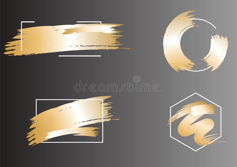 Комплект щетки штрихует рамку в золотых тонах Рамка золота абстрактного вектора сияющая Scribble, grunge или smudge искры лоснист иллюстрация вектора