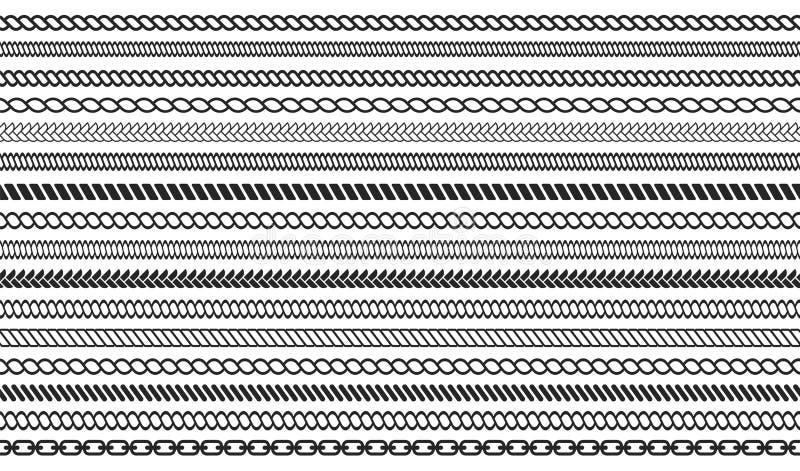 Комплект щеток веревочки и цепи Безшовная морская веревочка и цепные нашивки изолированные на предпосылке бесплатная иллюстрация