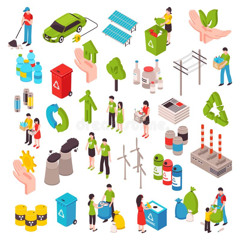 Комплект экологичности и отброса равновеликий иллюстрация вектора