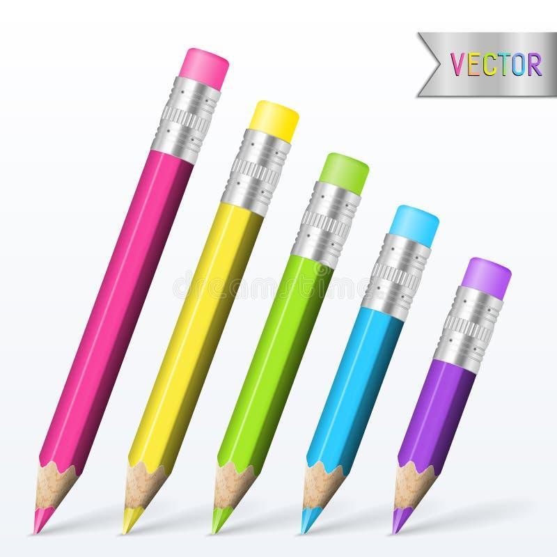 Комплект элементов дизайна школы голубых, зеленый, розовый, фиолетовый, желтый цвет иллюстрация штока