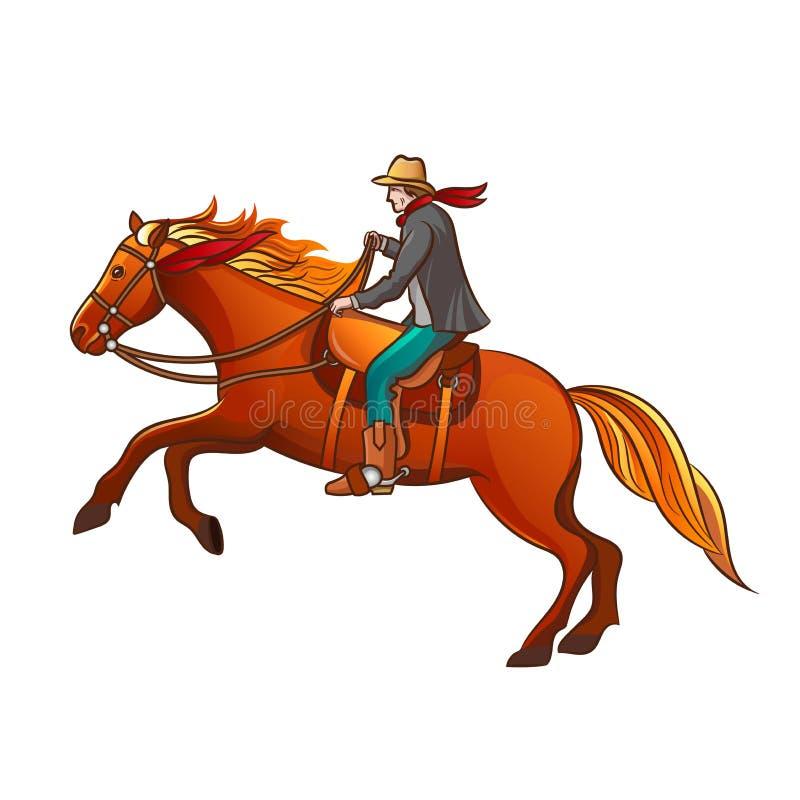 Комплект элементов Диких Западов оборудование ковбоев Ковбой на лошади иллюстрация штока