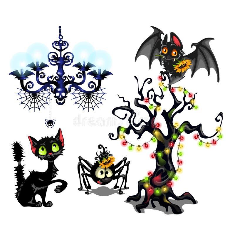 Комплект элементов для того чтобы создать плакат на теме партии праздника хеллоуина Милая летучая мышь, дерево с гирляндами, черн иллюстрация вектора