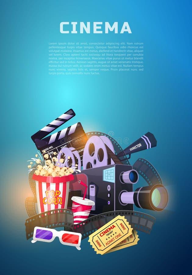 Комплект элементов кино Винтажное кино, развлечения и воссоздание с попкорном Ретро предпосылка плаката Clapperboard и иллюстрация штока