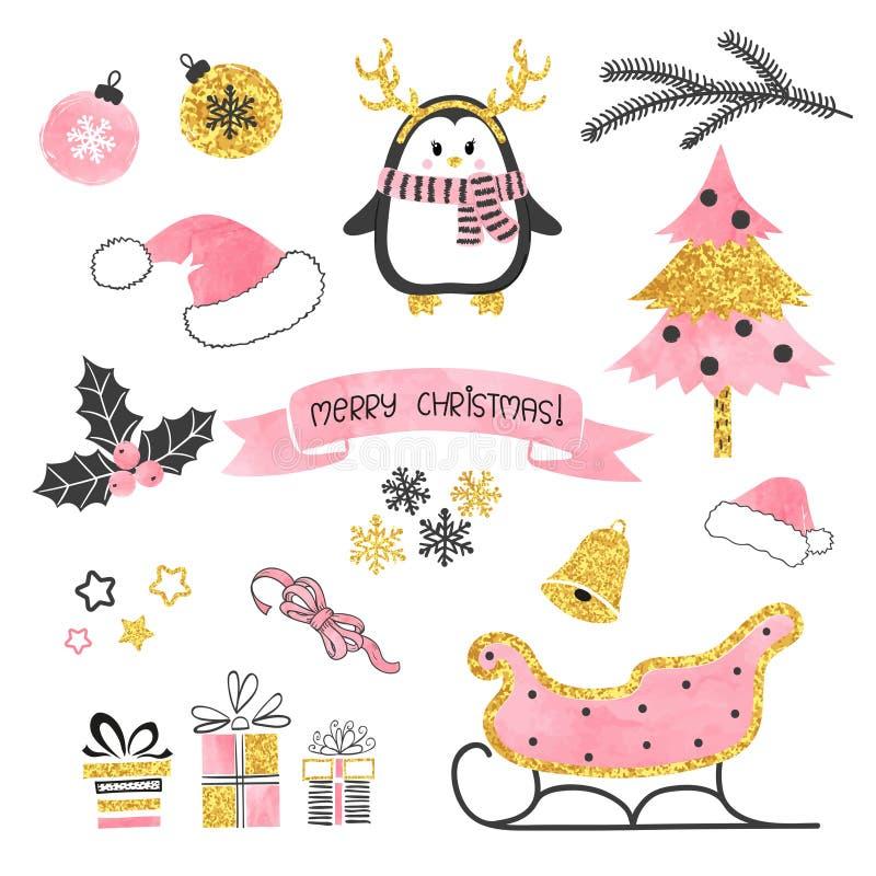комплект элементов конструкции рождества Собрание элементов xmas для дизайна поздравительной открытки в розовых, черных и золотых иллюстрация вектора