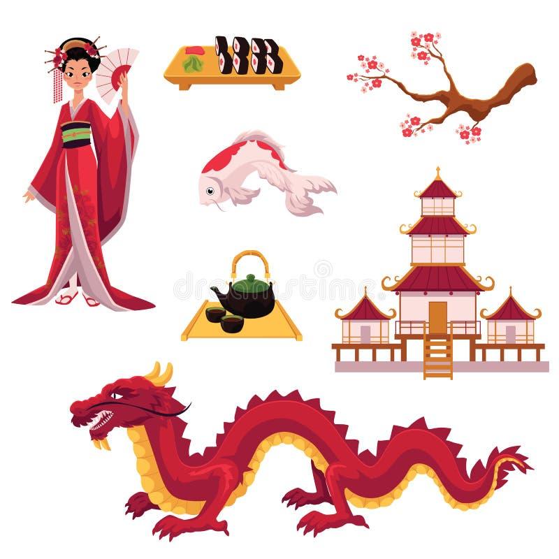 Комплект элементов культуры шаржа японских, символов иллюстрация вектора