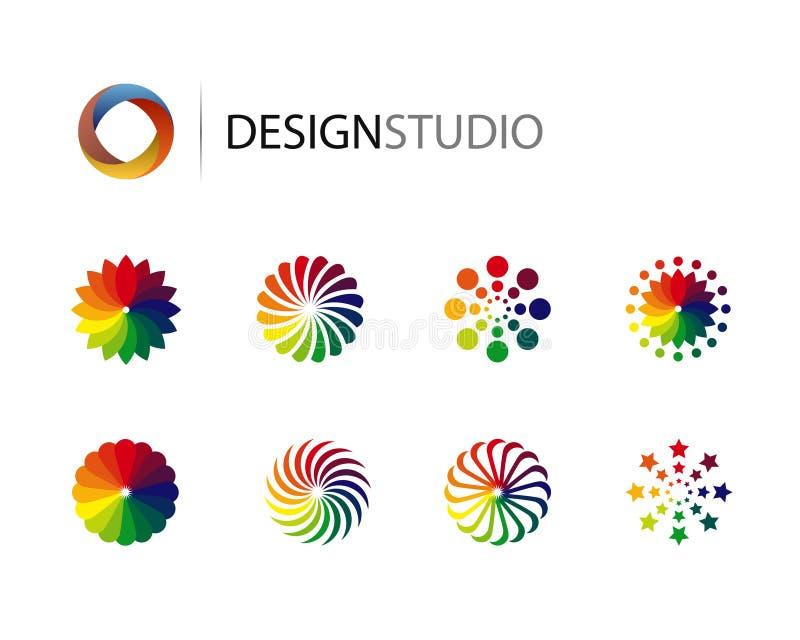 Комплект элементов логоса конструкции графических иллюстрация вектора