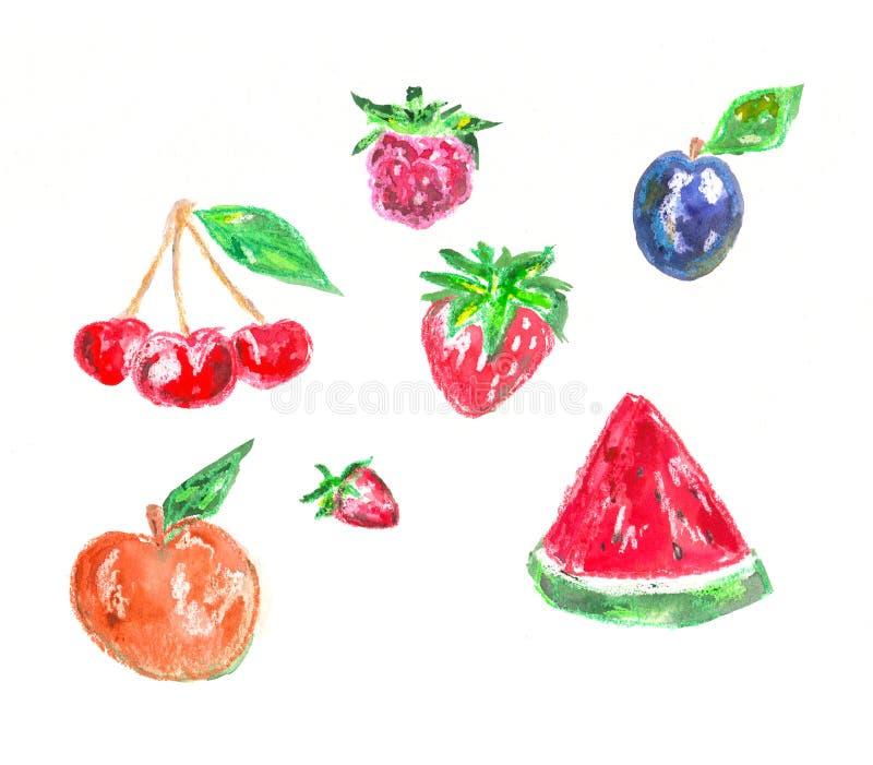 Комплект элементов нарисованных рукой для дизайна Вишни, арбуз, слива, персик, клубника и поленики Рисовать покрашенным пастельны иллюстрация вектора