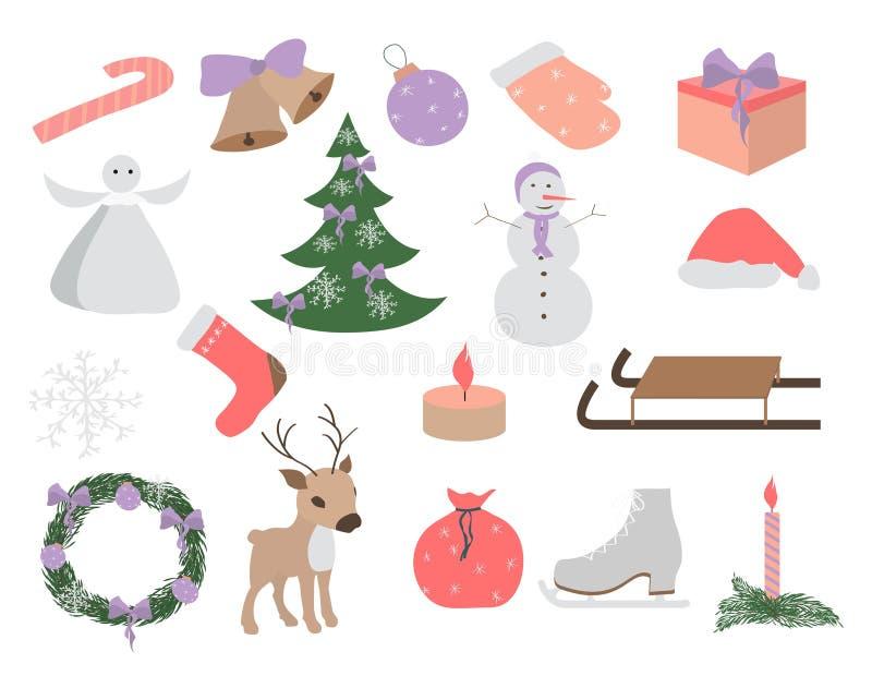 Комплект элементов рождества и Нового Года, нарисованный рукой стиль - животные и другие элементы также вектор иллюстрации притяж иллюстрация вектора