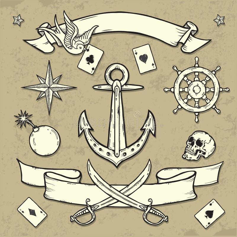 Комплект элементов татуировки старой школы иллюстрация штока