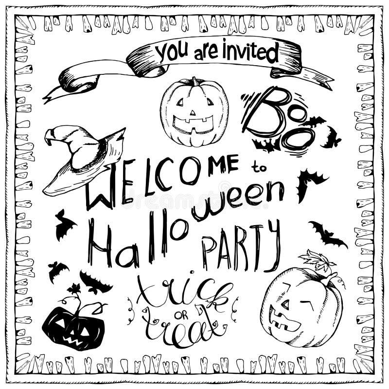 Комплект элементов хеллоуина нарисованных рукой, рамка зубов литерности и zombee для поздравительных открыток или приглашения Эск бесплатная иллюстрация