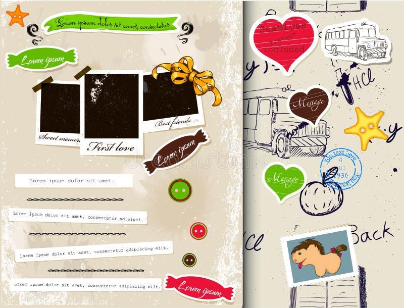 Комплект элементов 3. scrapbook год сбора винограда. иллюстрация штока