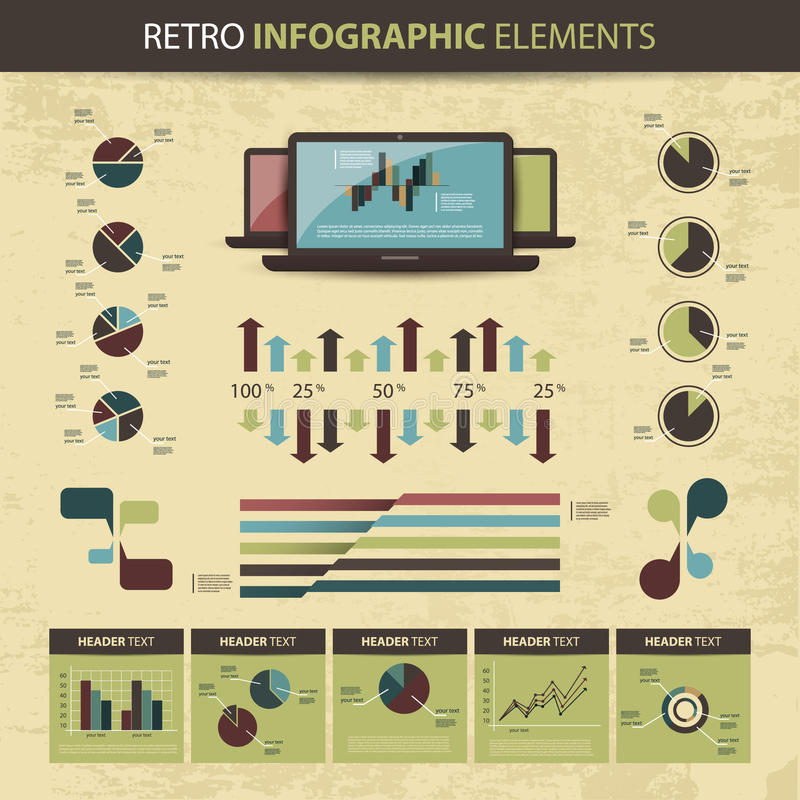 комплект элементов infographic ретро ввел вектор в моду иллюстрация штока