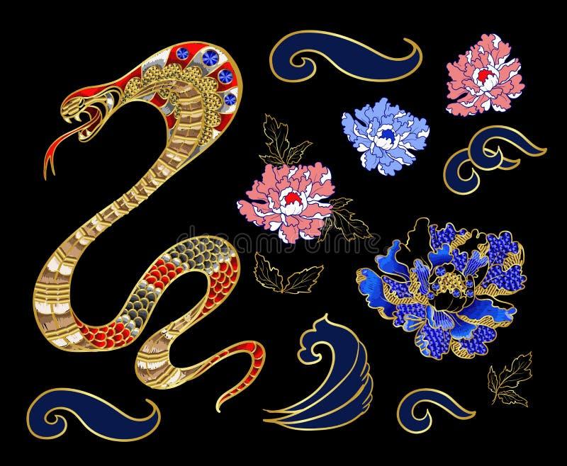 Комплект элементов snake и вышивки заплаты пиона с sequins иллюстрация штока