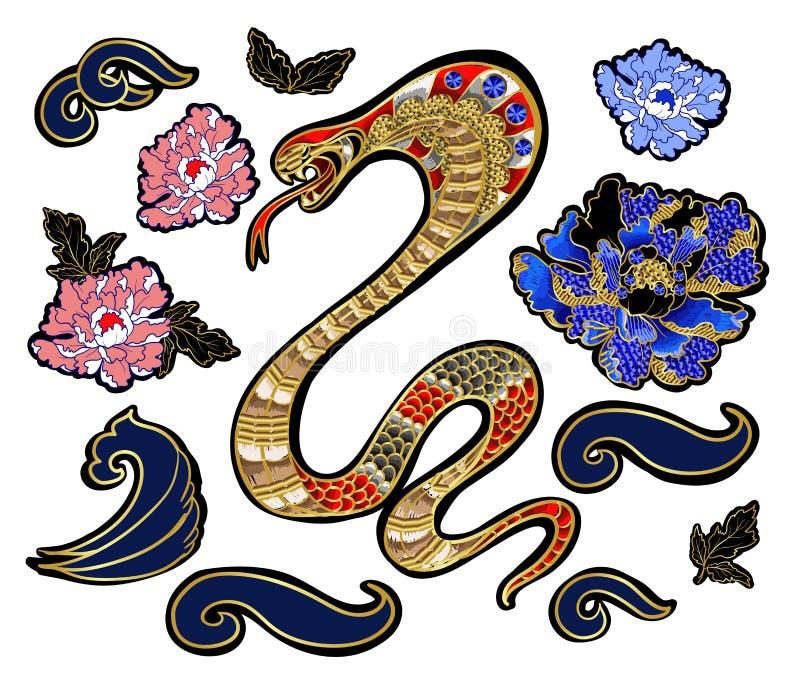 Комплект элементов snake и вышивки заплаты пиона с sequins иллюстрация вектора