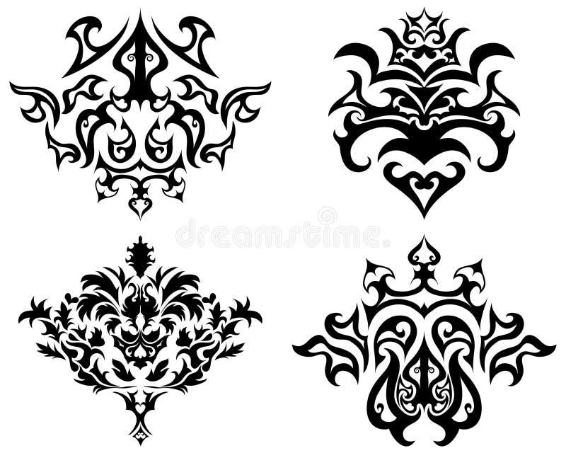комплект эмблемы готский иллюстрация вектора