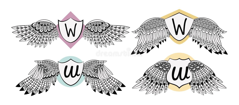 Комплект эмблемы крылов с значком бесплатная иллюстрация