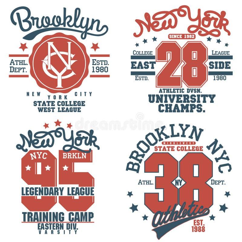Комплект эмблемы оформления графиков футболки Нью-Йорка иллюстрация штока