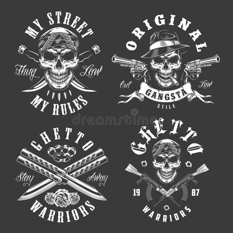 Комплект эмблем гангстера бесплатная иллюстрация