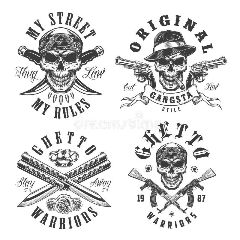 Комплект эмблем гангстера иллюстрация штока