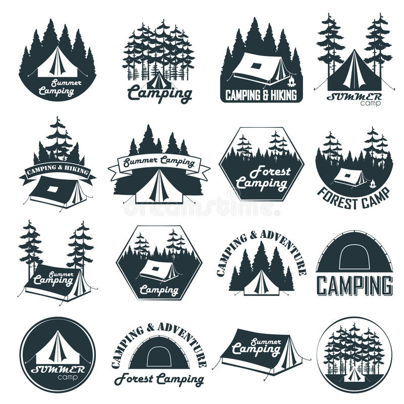 Комплект эмблем, логотипов и значков года сбора винограда располагаясь лагерем бесплатная иллюстрация