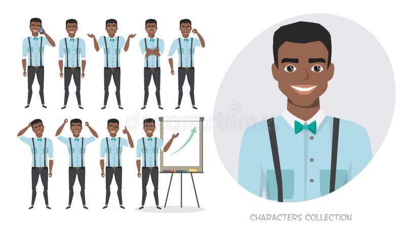 Комплект эмоций для черного Афро-американского бизнесмена иллюстрация вектора