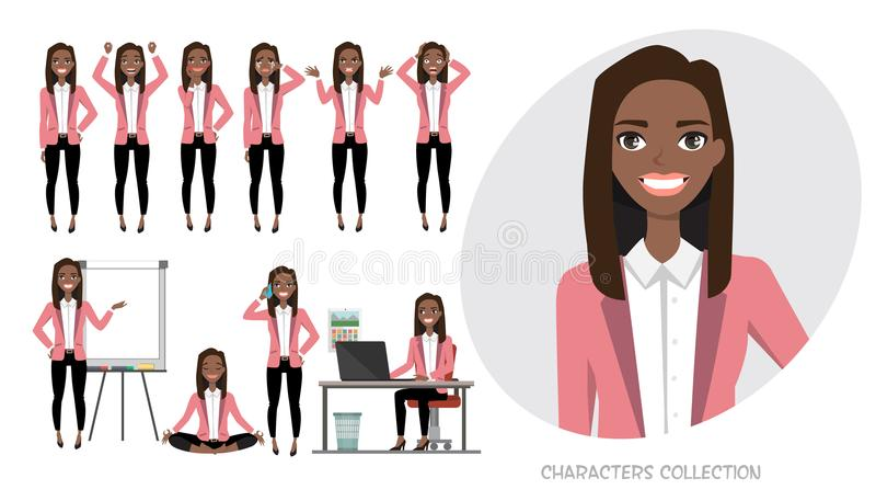 Комплект эмоций для черной Афро-американской бизнес-леди иллюстрация вектора