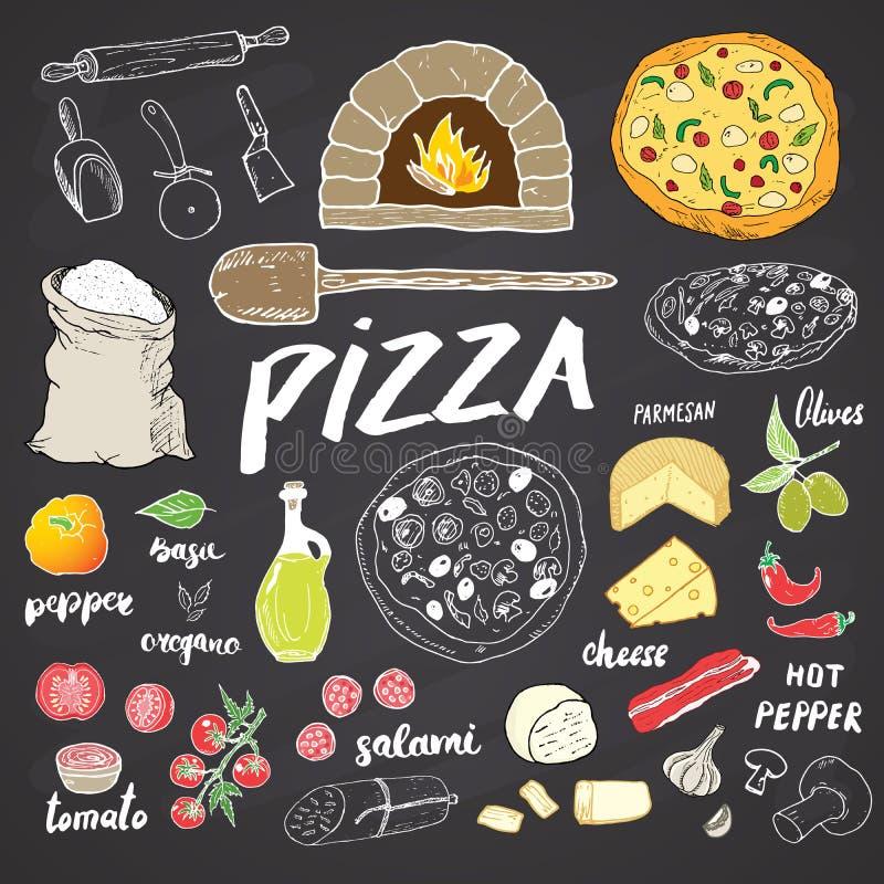 Комплект эскиза меню пиццы нарисованный рукой Шаблон дизайна подготовки пиццы с сыром, оливками, салями, грибами, томатами, мукой иллюстрация штока