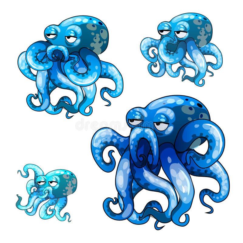 Комплект этапов роста оживленного осьминога изолированного на белой предпосылке Иллюстрация конца-вверх шаржа вектора бесплатная иллюстрация