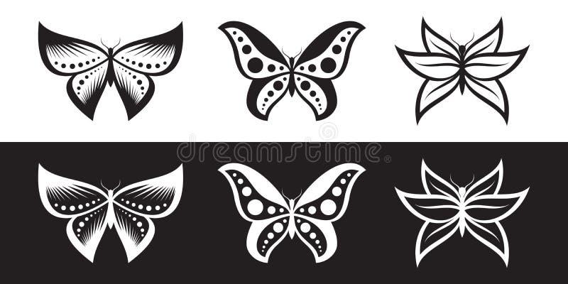 Комплект этнического стиля вектора значка бабочки для текстильной промышленности, графика и передвижного дизайна иллюстрация вектора
