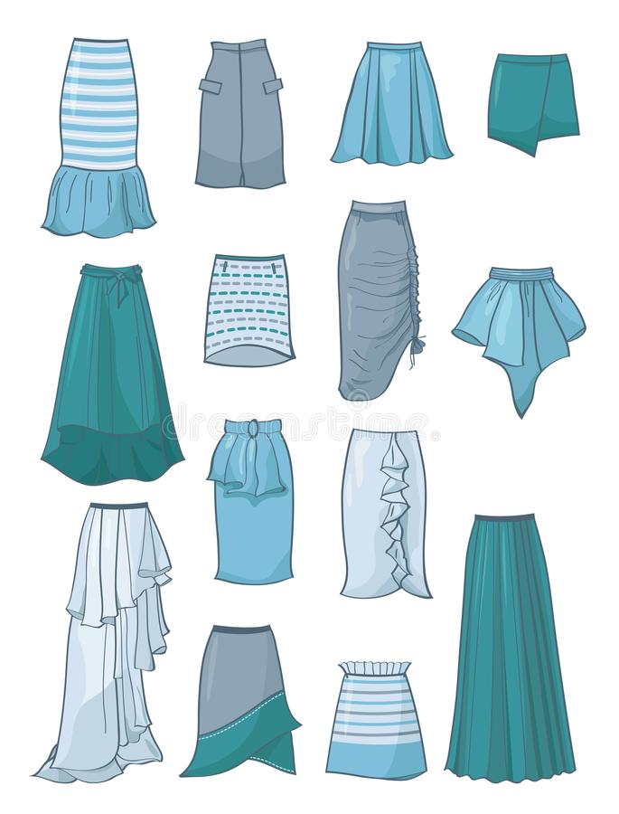 Комплект юбок с асимметрией и створками иллюстрация вектора