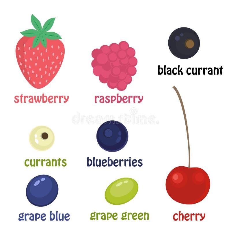 комплект ягод Ягоды шаржа вектора изолированные на белой предпосылке Вишни, поленики, виноградины, голубики, смородины иллюстрация вектора